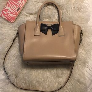 Kate Spade beige medium satchel black bow
